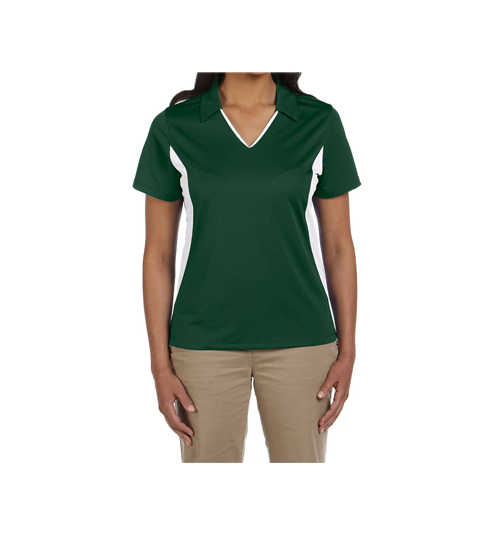 WOMENS POLYESTER V-NECK  WITH SIDE STRIPES T-SHIRT